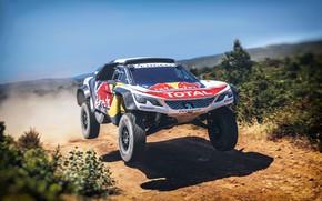 Picture Auto, Machine, Speed, Peugeot, Lights, Red Bull, Rally, Dakar, Dakar, SUV, Rally, Sport, The front, …
