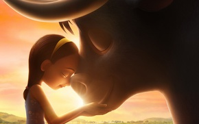 Picture girl, bull, friends, animated film, kid, Ferdinand, animated movie
