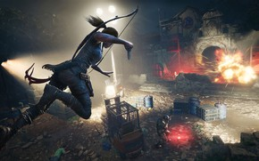 Picture light, the city, jump, Tomb Raider, Lara Croft, Shadow of the Tomb Raider