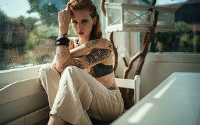 Picture look, pose, style, model, tattoo, window, red, bracelets, redhead, pants, Julia Wendt, Andreas-Joachim Lins