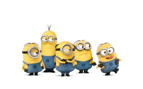 Picture cartoon, yellow, shoes, glasses, white background, gloves, characters, jumpsuits, Minions, Minions, five