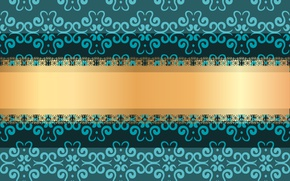 Picture flowers, green, background, pattern, texture, gold ribbon