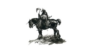 Picture sword, warrior, rider, axe, shield