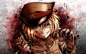 Picture girl, blood, soldier, military, war, anime, face, blonde, asian, manga, oriental, asiatic, powerful, strong, uniform, …