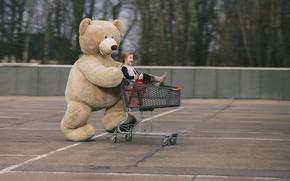 Picture bear, girl, stroller