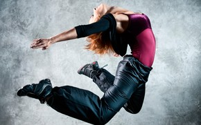 Picture girl, pose, background, jump, dance, Mike, red, jacket, sneakers, pants, flexible