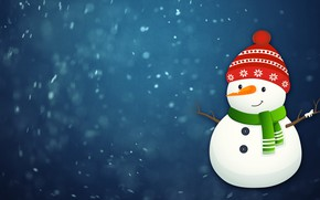 Picture Winter, Minimalism, Snow, New Year, Hat, Background, Holiday, Mood, Snowman