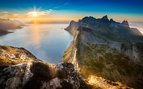 Picture sea, sunset, mountains, cliffs