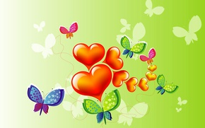 Wallpaper collage, heart, butterfly, postcard, vector, Valentine's Day