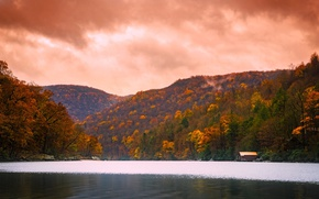 Picture autumn, forest, trees, mountains, clouds, lake, stones, VA, house, USA