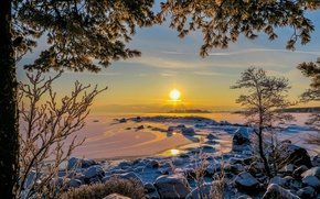 Picture winter, landscape, sunset, nature, Finland, The Gulf of Finland, Kotka
