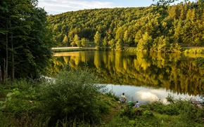 Picture greens, forest, summer, trees, lake, stay, fisherman, Germany, the bushes, nature, rod, Attendorn, lake Biggesee