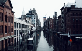Picture The city, City, Cataclysm, New York, Water, Apocalypse, New - York, Flood