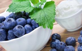 Picture berries, blueberries, cream, fresh, blueberry, cream, berries