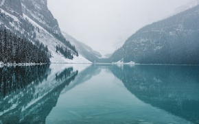 Wallpaper forest, reflection, nature, snow, mountains, winter, lake