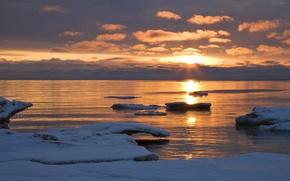 Picture sea, horizon, ice, scat