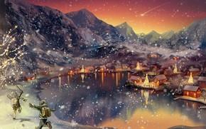 Picture winter, landscape, children
