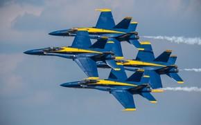 Picture flight, the plane, fighter, Quartet, Blue Angels, F/A-18 Hornet