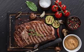 Picture spices, Steak, sauce, salt
