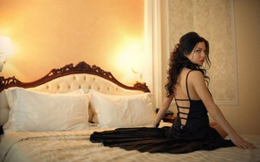 Picture look, pose, lamp, model, pillow, makeup, figure, dress, brunette, hairstyle, bed, beauty, sitting, on the ...