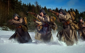 Wallpaper cheers, The red army, winter, snow, The red army, The battle, attack