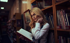 Picture look, girl, mood, books, library, Beads Shakirović