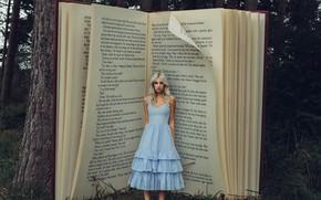 Picture girl, dress, book, Bird Man