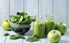 Picture bottle, juice, apples, drink, spinach