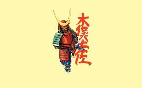 Picture the inscription, sword, armor, samurai