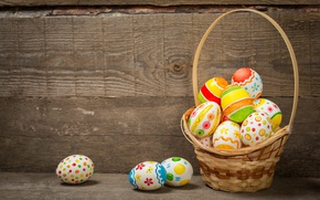 Wallpaper basket, colorful, wood, basket, Easter, Easter, happy, the painted eggs, spring, holiday, eggs