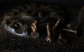 Picture background, rust, screws