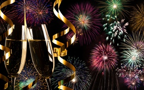 Picture salute, colorful, New Year, fireworks, new year, happy, night, fireworks, champagne, 2017, holiday celebration