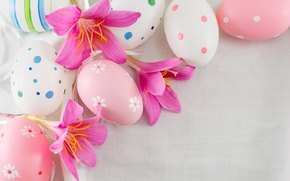 Wallpaper decoration, Easter, pink, Easter, flowers, the painted eggs, Happy, spring, eggs, flowers