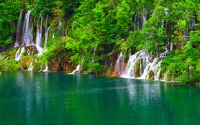 Picture greens, trees, lake, rocks, waterfalls, Croatia, Plitvice Lakes