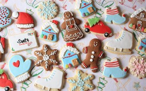Picture sweets, New Year, holiday, cakes, cookies, treat, gingerbread, colored glaze, figures