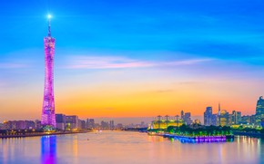 Picture the city, lights, river, China, the urban landscape
