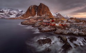 Picture sea, light, snow, mountains, rocks, the evening, Norway, the village, Scandinavia, The Lofoten Islands, The …
