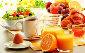 Picture egg, coffee, orange, Breakfast, juice, honey, fruit, salad, croissant