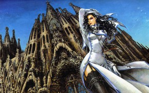 Picture cross, the cut, Cathedral, trinity blood, curls, nun, art, Barcelona, blue sky, black stockings, The ...