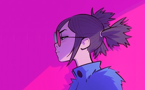 Picture glasses, collar, profile, pink background, two tails, portrait of a girl, Ilya Kuvshinov
