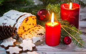 Picture new year, candles, cookies, bump, cupcake, fir-tree branches, treats
