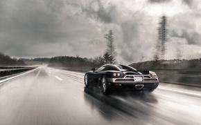 Picture road, rain, speed, Koenigsegg, supercar, supercar, CCXR
