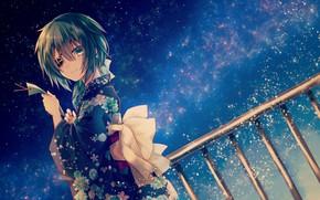 Picture girl, night, anime, art, yukata, Kantai Collection, Naval Collection