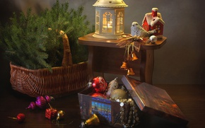 Picture holiday, basket, toys, spruce, lantern