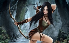 Wallpaper bow, forest, stream, fantasy, Illustrator, Elven Archer, Reha Sakar, hunter, art