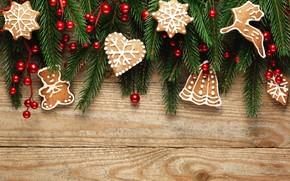Picture berries, tree, New Year, cookies, Christmas, happy, Christmas, wood, New Year, Merry Christmas, Xmas, cookies, …