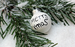 Picture New Year, Christmas, winter, snow, merry christmas, ball