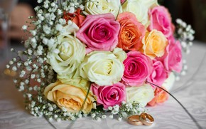 Picture flowers, roses, bouquet, colorful, pink, flowers, bouquet, roses, wedding, wedding