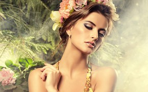 Picture girl, model, hands, makeup, hairstyle, brown hair, shoulders