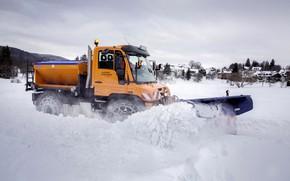 Picture snow, Mercedes-Benz, chain, machinery, Unimog, U430